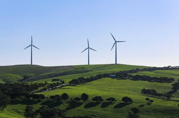 wind turbines on a hill with a blue sky background